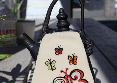 butterfly hand built tea pot